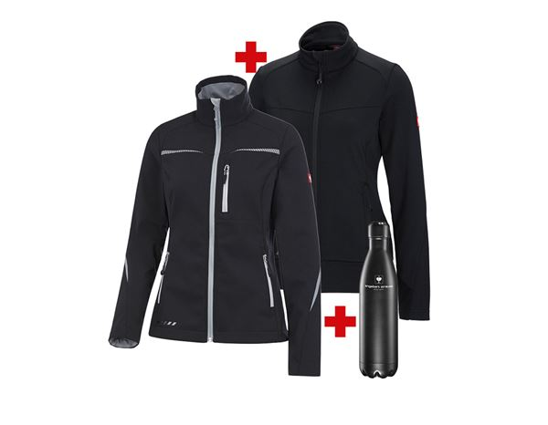 Christmas-Combo-Sets: Softsh.jacket e.s.motion 2020 l.+FIBERTWIN® jacket + black/platinum