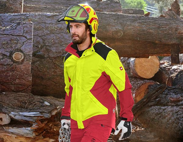Work Jackets: e.s. Forestry rain jacket + high-vis yellow/fiery red