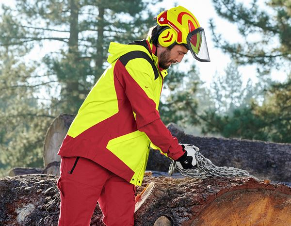 Work Jackets: e.s. Forestry rain jacket + high-vis yellow/fiery red 1