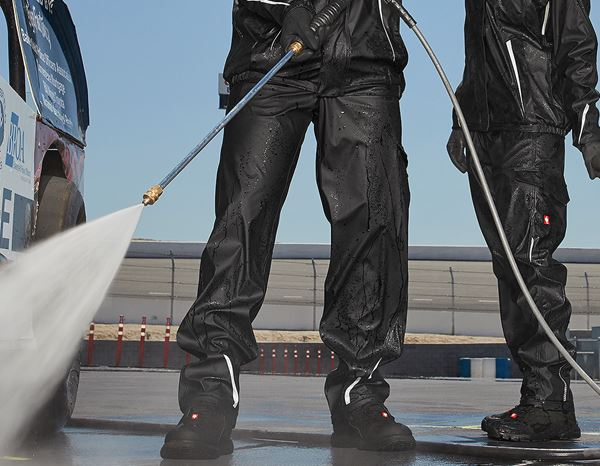 Work Trousers: Rain trousers e.s.motion 2020 superflex + black/platinum