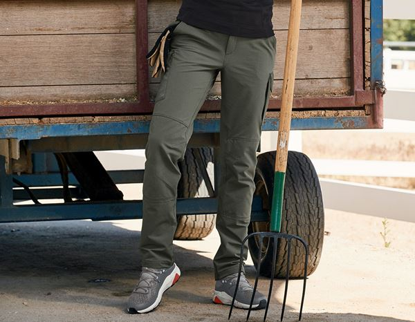 Work Trousers: Funct. cargo trousers e.s.dynashield solid, ladies + thyme