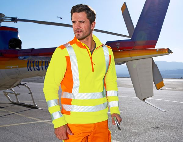 Pullover: High-vis fleece troyer e.s.motion 2020 + high-vis yellow/high-vis orange