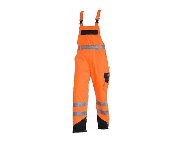 Work Trousers: High-vis thermal bib & brace e.s.image + high-vis orange