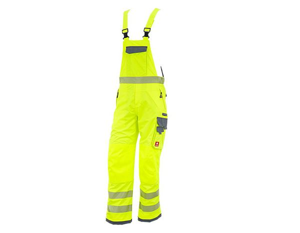High-Vis Trousers: High-vis functional bib & brace e.s.prestige + high-vis yellow/grey