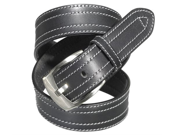 Accessories: Leather belt Baxter + black