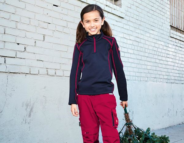 Pullover: Funct.Troyer thermo stretch e.s.motion 2020 child. + navy/berry