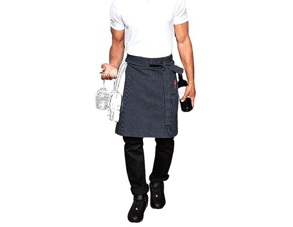 Aprons: Mid-Length Apron stripe e.s.fusion, men's + blue/white