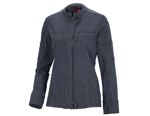 Shirts, Pullover & more: Work jacket long sleeved stripe e.s.fusion,ladies' + blue/white