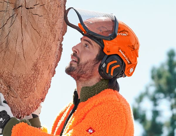 Hard Hats: e.s. Forestry helmet Protos® + high-vis orange woodprint 1