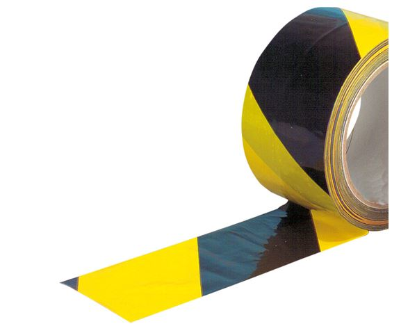 Plastic bands | crepe bands: Warning tape, self-adhesive + yellow/black