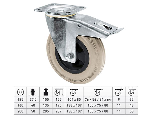 Transport rolls: Guide Roll with Wheel-/Total Fixing Brake