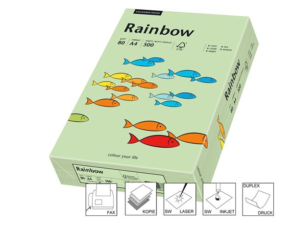Office Paper: Intensive Multi-Purpose Colour Paper Rainbow 80 + middle-green