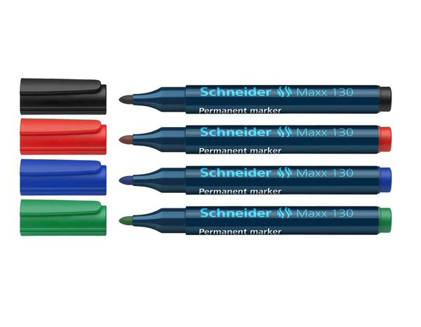 Pencils / Pens / Markers: Schneider Permanent Marker 130, Assorted Pack of 4