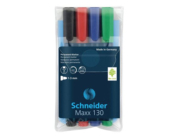 Pencils / Pens / Markers: Schneider Permanent Marker 130, Assorted Pack of 4 1